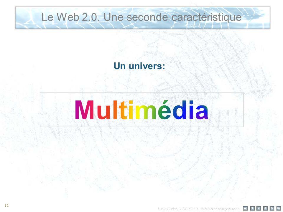 12 34 11 Le Web 2.0. Une seconde caractéristique Un univers: