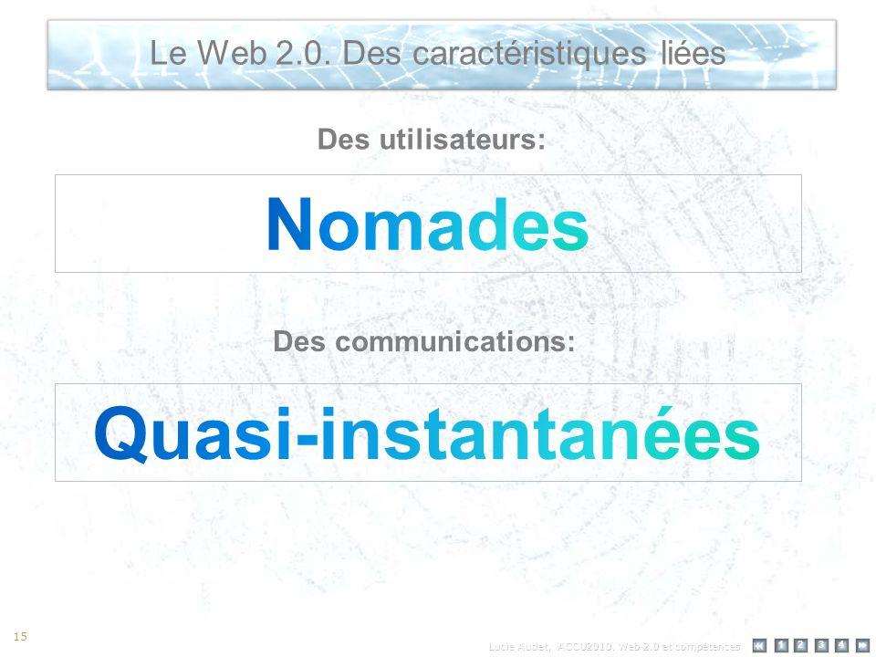 12 34 15 Le Web 2.0. Des caractéristiques liées Des utilisateurs: Des communications: