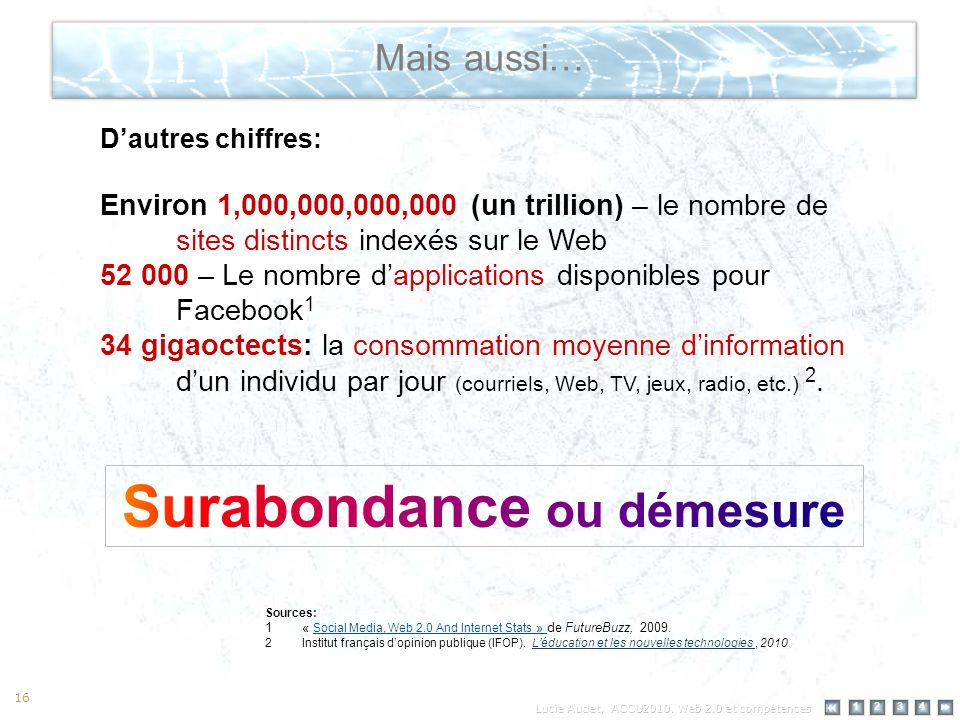 12 34 16 Mais aussi… Sources: 1« Social Media, Web 2.0 And Internet Stats » de FutureBuzz, 2009. 2Institut français dopinion publique (IFOP). Léducati