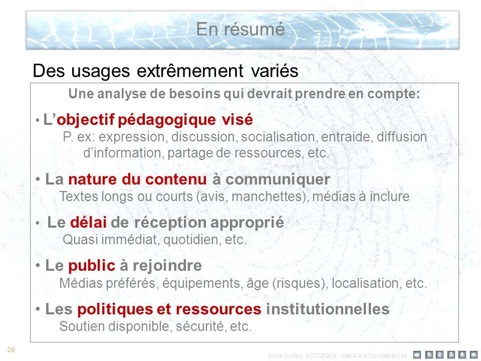 12 34 26 En résumé Des usages extrêmement variés Une analyse de besoins qui devrait prendre en compte: Lobjectif pédagogique visé P.