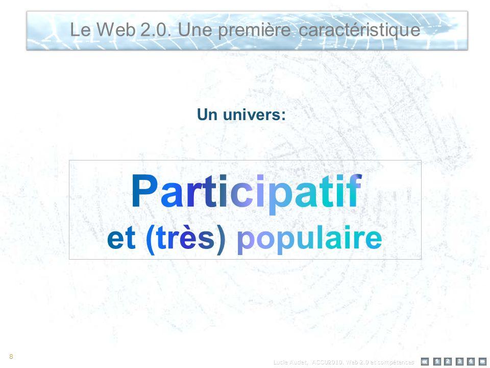 12 34 8 Le Web 2.0. Une première caractéristique Un univers: