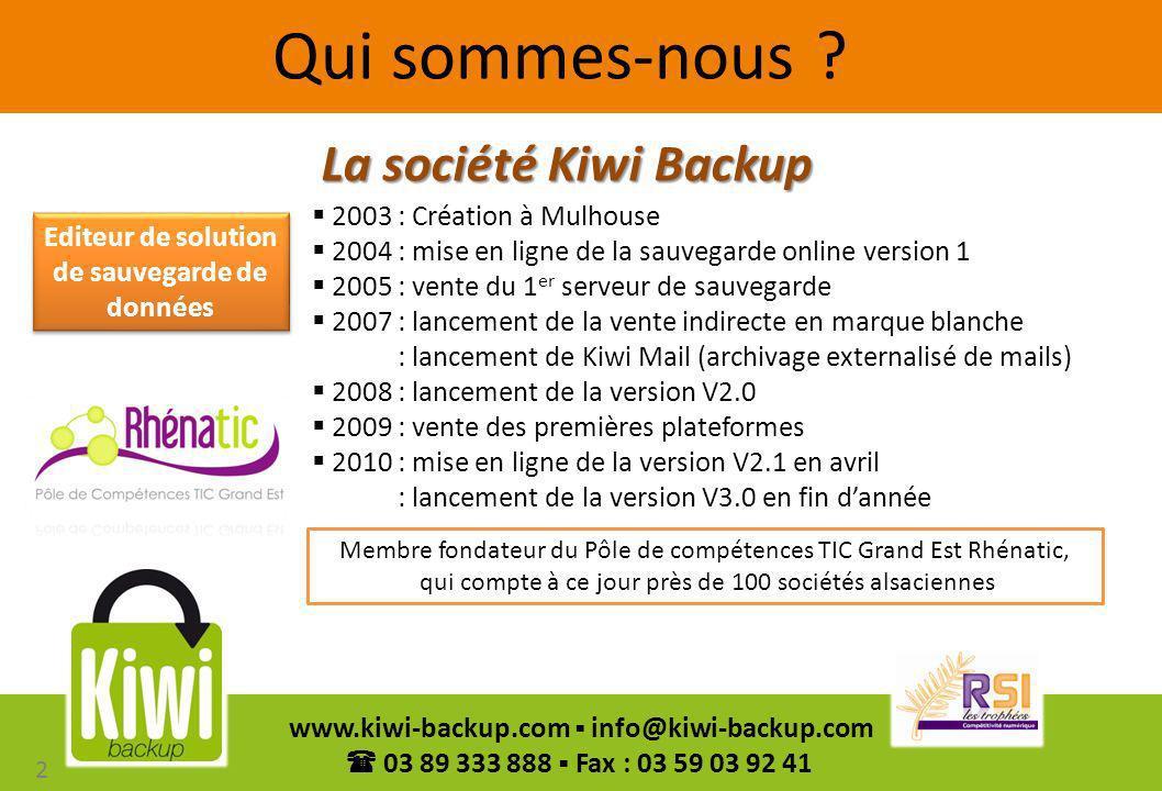 13 www.kiwi-backup.com info@kiwi-backup.com 03 89 333 888 Fax : 03 59 03 92 41 Les octets modifiés Les octets modifiés Stockage des incréments pour créer lhistorique Modif 3 3 2 1 Modif 2Modif 1 Base complète 3 Base complète 2 Base complète 1 Augmentation du volume à sauvegarder 90 jours dhistorique = 1 Go 1 Go 2 Go 1 Go 0.520 Go Schéma non contractuel