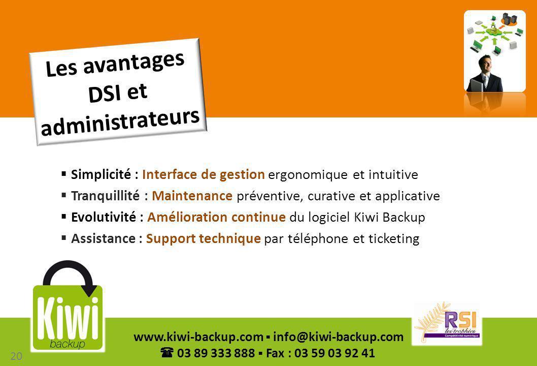 20 www.kiwi-backup.com info@kiwi-backup.com 03 89 333 888 Fax : 03 59 03 92 41 Simplicité : Interface de gestion ergonomique et intuitive Tranquillité