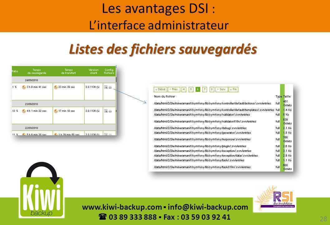 28 www.kiwi-backup.com info@kiwi-backup.com 03 89 333 888 Fax : 03 59 03 92 41 Listes des fichiers sauvegardés Les avantages DSI : Linterface administ