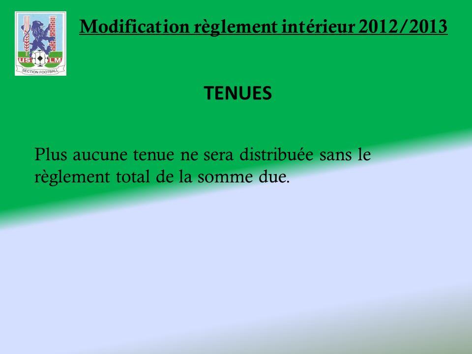 Modification règlement intérieur 2012/2013 TENUES Plus aucune tenue ne sera distribuée sans le règlement total de la somme due.