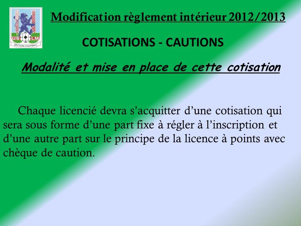 Modification règlement intérieur 2012/2013 COTISATIONS - CAUTIONS Modalité et mise en place de cette cotisation Chaque licencié devra sacquitter dune cotisation qui sera sous forme dune part fixe à régler à linscription et dune autre part sur le principe de la licence à points avec chèque de caution.