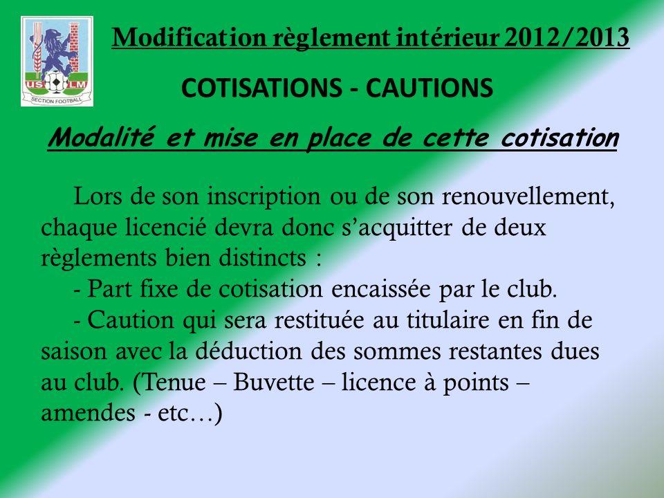 Modification règlement intérieur 2012/2013 Lors de son inscription ou de son renouvellement, chaque licencié devra donc sacquitter de deux règlements bien distincts : - Part fixe de cotisation encaissée par le club.