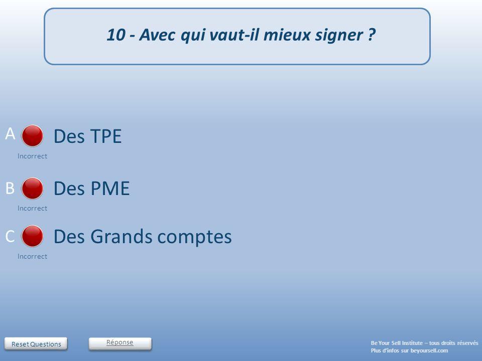 Reset Questions 10 - Avec qui vaut-il mieux signer ? Des TPE Incorrect Des PME Incorrect Des Grands comptes Incorrect Réponse Be Your Sell Institute –