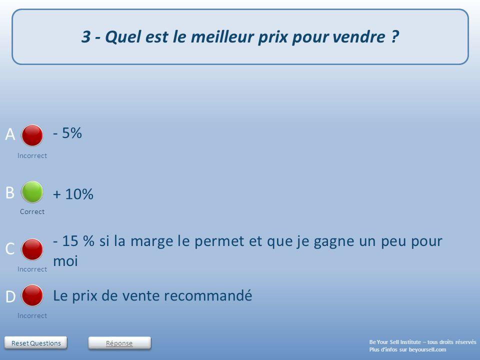 Reset Questions - 5% Incorrect - 15 % si la marge le permet et que je gagne un peu pour moi Incorrect Le prix de vente recommandé Incorrect + 10% Corr
