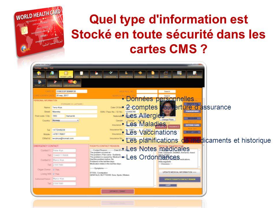 THE SYSTEM Quel type d'information est Stocké en toute sécurité dans les cartes CMS ? Données personnelles 2 comptes couverture d'assurance Les Allerg