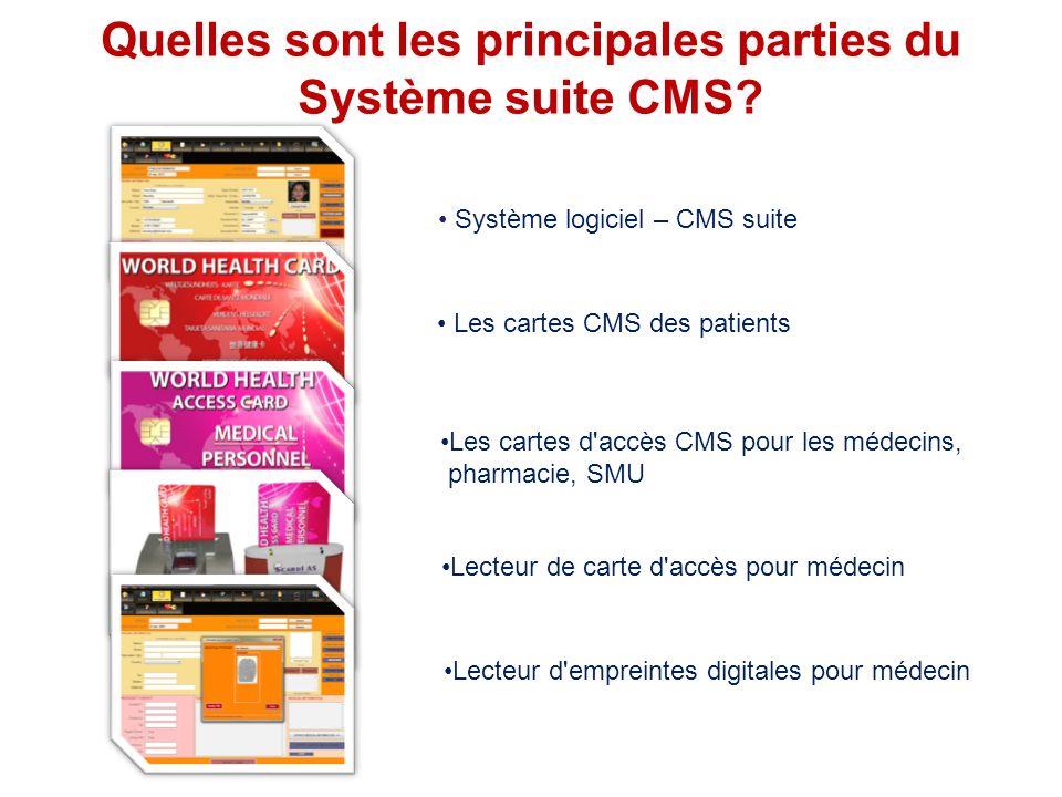 THE SYSTEM Quelles sont les principales parties du Système suite CMS? Système logiciel – CMS suite Les cartes CMS des patients Les cartes d'accès CMS