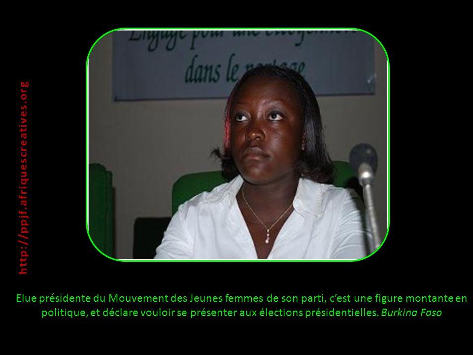 Elue présidente du Mouvement des Jeunes femmes de son parti, cest une figure montante en politique, et déclare vouloir se présenter aux élections présidentielles.