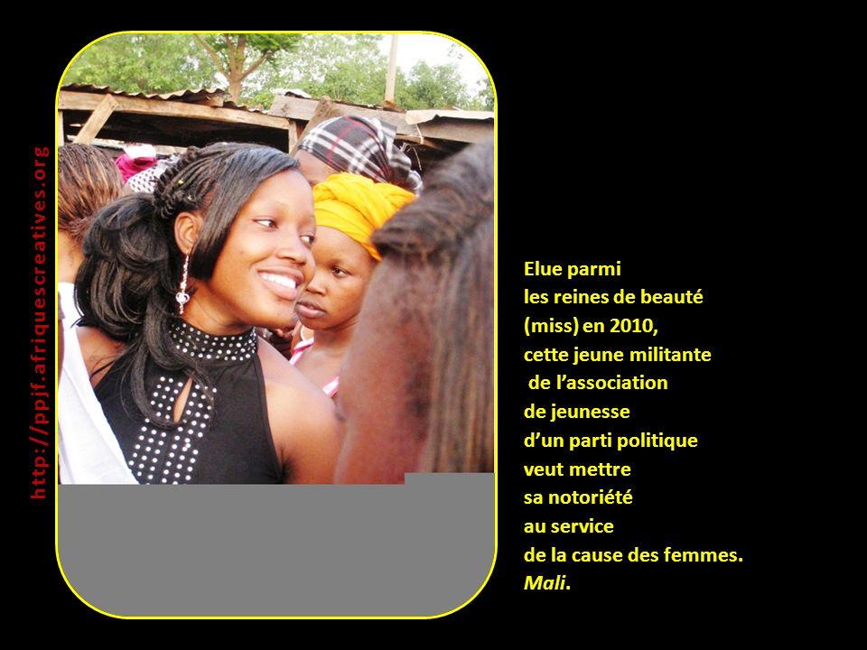 Elue parmi les reines de beauté (miss) en 2010, cette jeune militante de lassociation de jeunesse dun parti politique veut mettre sa notoriété au service de la cause des femmes.