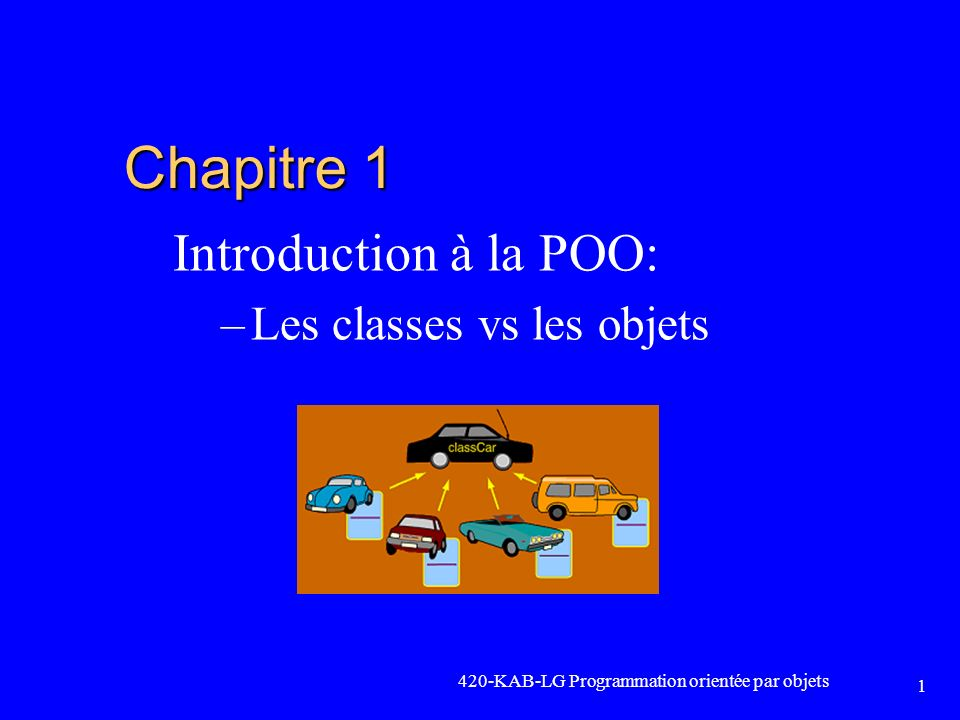 420-KAB-LG Programmation orientée par objets 1 Chapitre 1 Introduction à la POO: –Les classes vs les objets