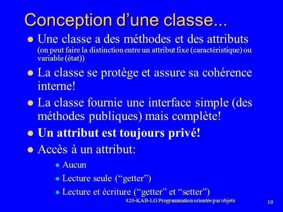 Conception dune classe... Une classe a des méthodes et des attributs (on peut faire la distinction entre un attribut fixe (caractéristique) ou variabl