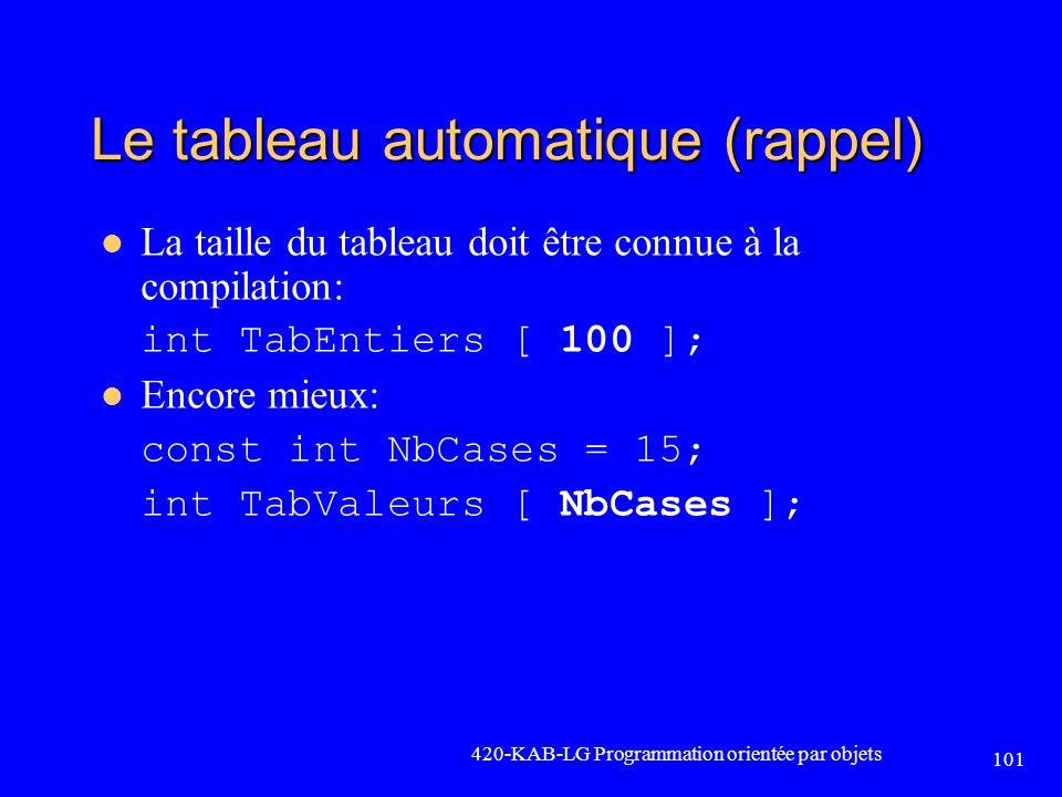101 Le tableau automatique (rappel) La taille du tableau doit être connue à la compilation: int TabEntiers [ 100 ]; Encore mieux: const int NbCases =
