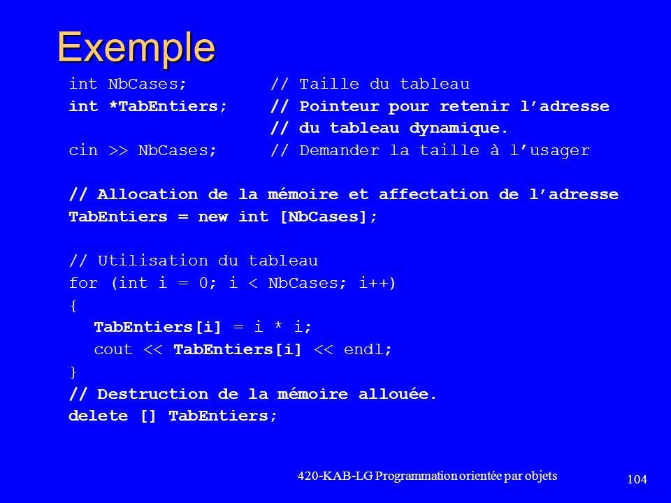 Exemple int NbCases;// Taille du tableau int *TabEntiers;// Pointeur pour retenir ladresse // du tableau dynamique. cin >> NbCases;// Demander la tail
