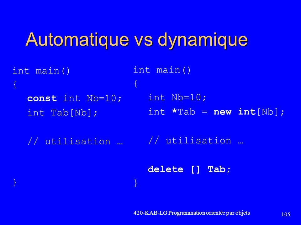 Automatique vs dynamique int main() { const int Nb=10; int Tab[Nb]; // utilisation … } 420-KAB-LG Programmation orientée par objets 105 int main() { i