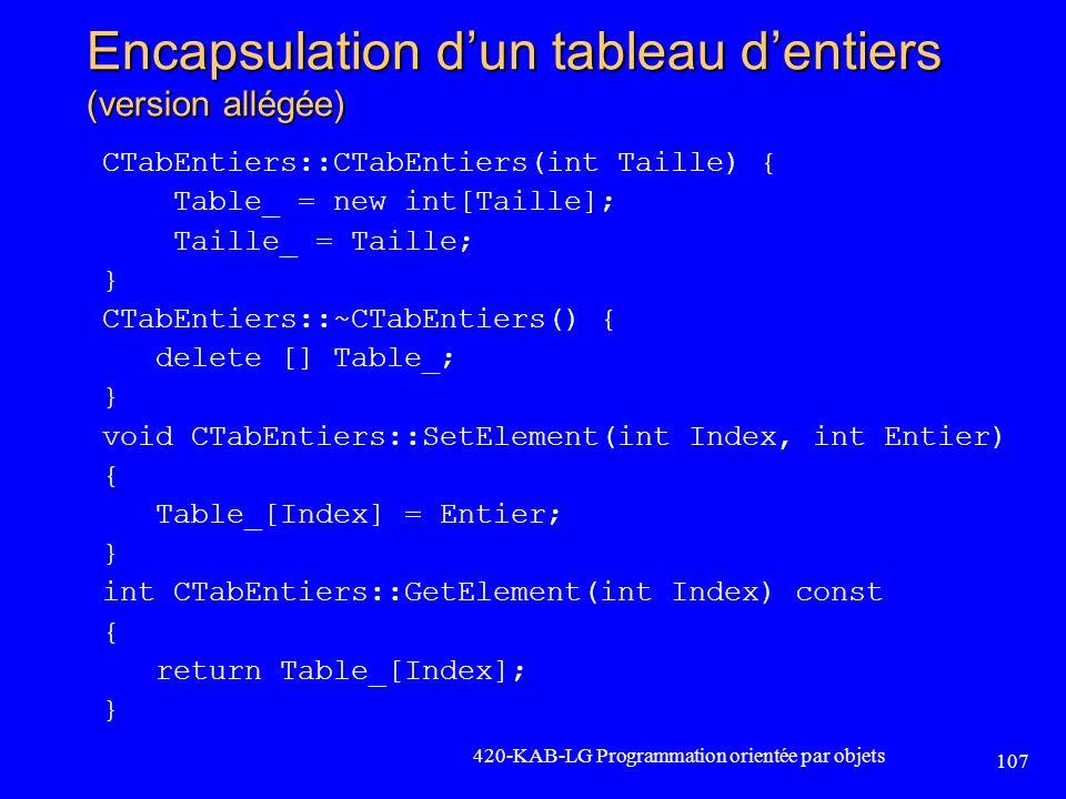 Encapsulation dun tableau dentiers (version allégée) CTabEntiers::CTabEntiers(int Taille) { Table_ = new int[Taille]; Taille_ = Taille; } CTabEntiers: