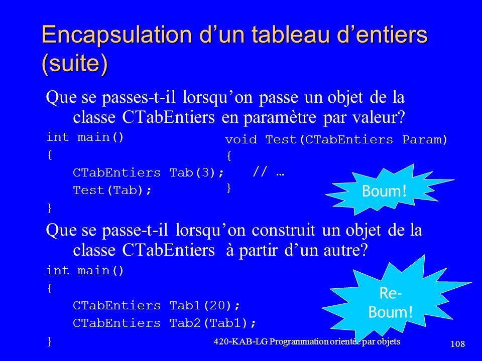 Encapsulation dun tableau dentiers (suite) Que se passes-t-il lorsquon passe un objet de la classe CTabEntiers en paramètre par valeur? int main() { C
