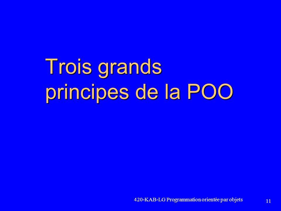 420-KAB-LG Programmation orientée par objets 11 Trois grands principes de la POO