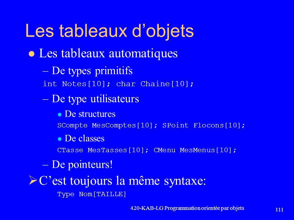 Les tableaux dobjets Les tableaux automatiques –De types primitifs int Notes[10]; char Chaine[10]; –De type utilisateurs De structures SCompte MesComp