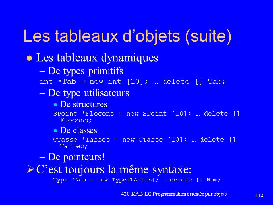 Les tableaux dobjets (suite) Les tableaux dynamiques –De types primitifs int *Tab = new int [10]; … delete [] Tab; –De type utilisateurs De structures