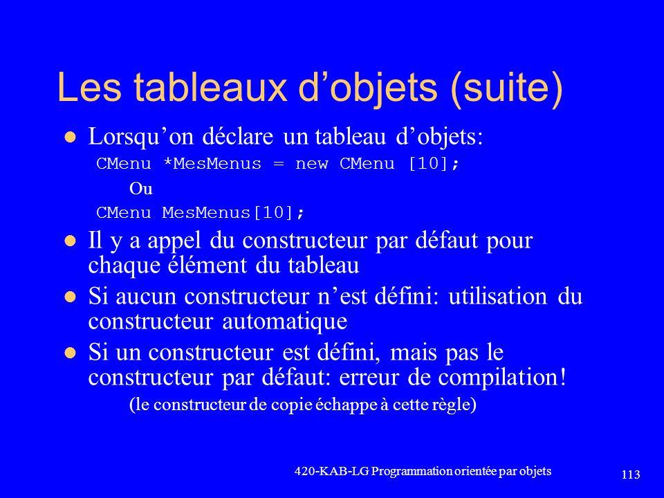 Les tableaux dobjets (suite) Lorsquon déclare un tableau dobjets: CMenu *MesMenus = new CMenu [10]; Ou CMenu MesMenus[10]; Il y a appel du constructeu