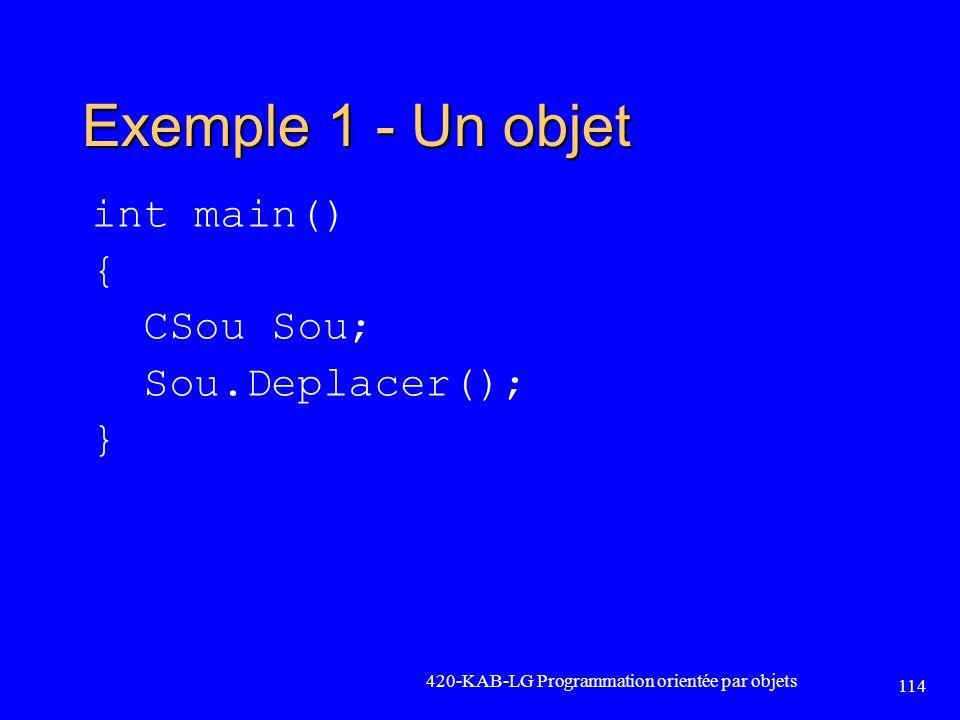 Exemple 1 - Un objet int main() { CSou Sou; Sou.Deplacer(); } 420-KAB-LG Programmation orientée par objets 114