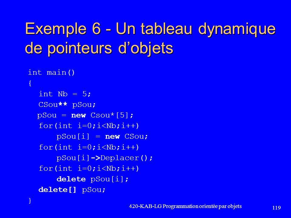 Exemple 6 - Un tableau dynamique de pointeurs dobjets int main() { int Nb = 5; CSou** pSou; pSou = new Csou*[5]; for(int i=0;i<Nb;i++) pSou[i] = new C