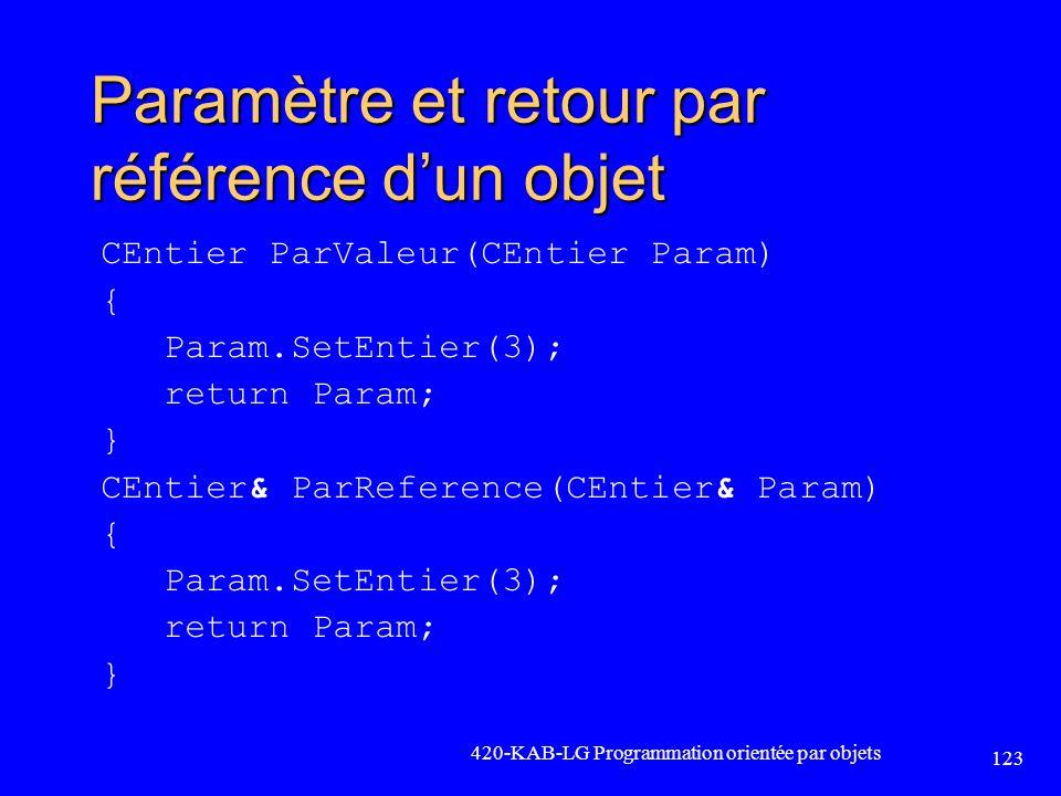 Paramètre et retour par référence dun objet CEntier ParValeur(CEntier Param) { Param.SetEntier(3); return Param; } CEntier& ParReference(CEntier& Para