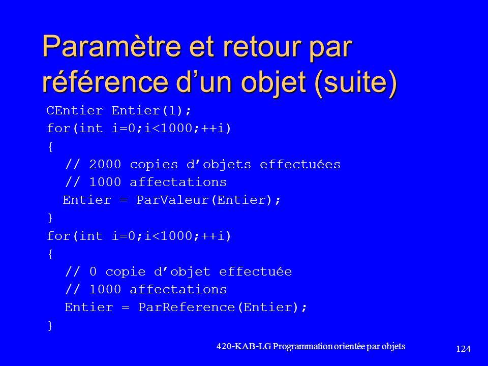 Paramètre et retour par référence dun objet (suite) CEntier Entier(1); for(int i=0;i<1000;++i) { // 2000 copies dobjets effectuées // 1000 affectation
