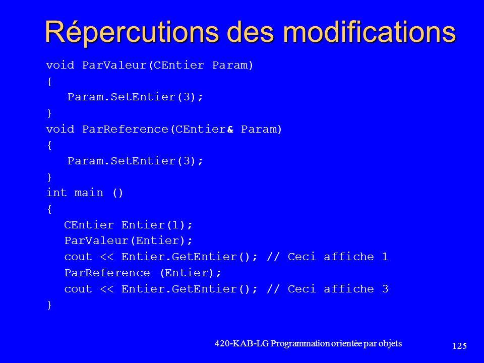 Répercutions des modifications void ParValeur(CEntier Param) { Param.SetEntier(3); } void ParReference(CEntier& Param) { Param.SetEntier(3); } int mai