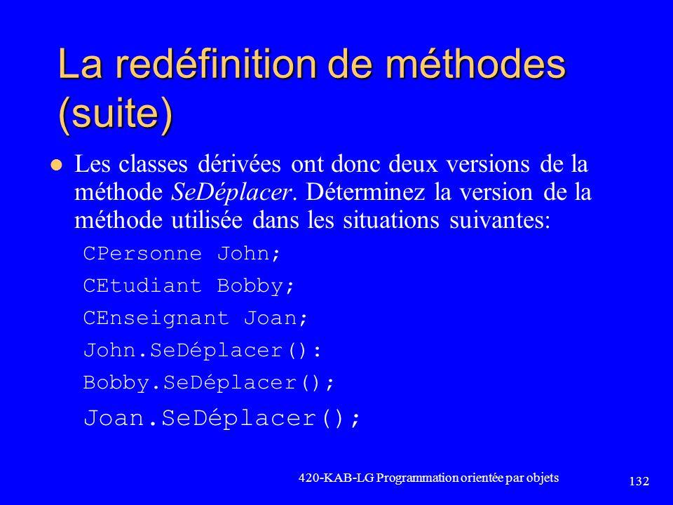 La redéfinition de méthodes (suite) Les classes dérivées ont donc deux versions de la méthode SeDéplacer. Déterminez la version de la méthode utilisée