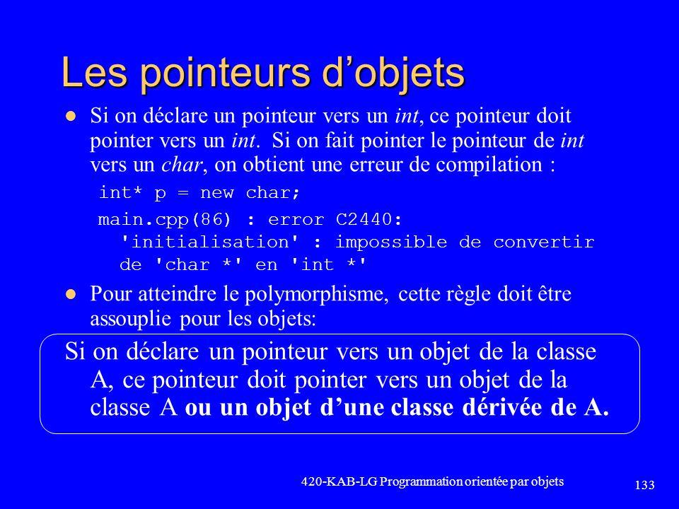 Les pointeurs dobjets Si on déclare un pointeur vers un int, ce pointeur doit pointer vers un int. Si on fait pointer le pointeur de int vers un char,