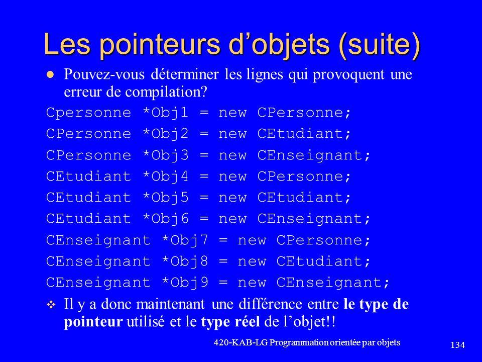 Les pointeurs dobjets (suite) Pouvez-vous déterminer les lignes qui provoquent une erreur de compilation? Cpersonne *Obj1 = new CPersonne; CPersonne *