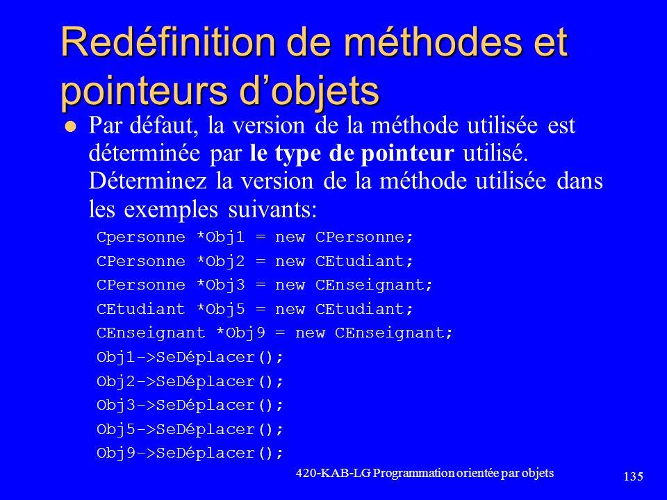 Redéfinition de méthodes et pointeurs dobjets Par défaut, la version de la méthode utilisée est déterminée par le type de pointeur utilisé. Déterminez