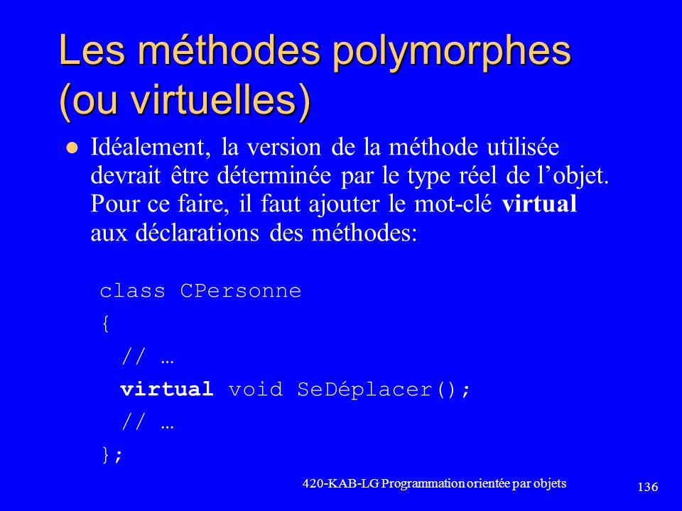 Les méthodes polymorphes (ou virtuelles) Idéalement, la version de la méthode utilisée devrait être déterminée par le type réel de lobjet. Pour ce fai
