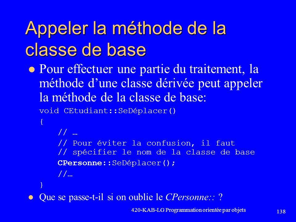 Appeler la méthode de la classe de base Pour effectuer une partie du traitement, la méthode dune classe dérivée peut appeler la méthode de la classe d