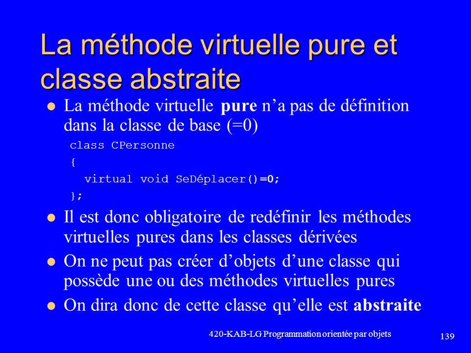 La méthode virtuelle pure et classe abstraite La méthode virtuelle pure na pas de définition dans la classe de base (=0) class CPersonne { virtual voi