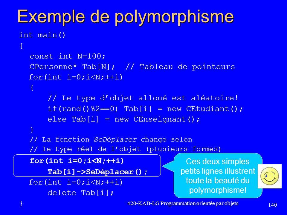 Exemple de polymorphisme int main() { const int N=100; CPersonne* Tab[N]; // Tableau de pointeurs for(int i=0;i<N;++i) { // Le type dobjet alloué est