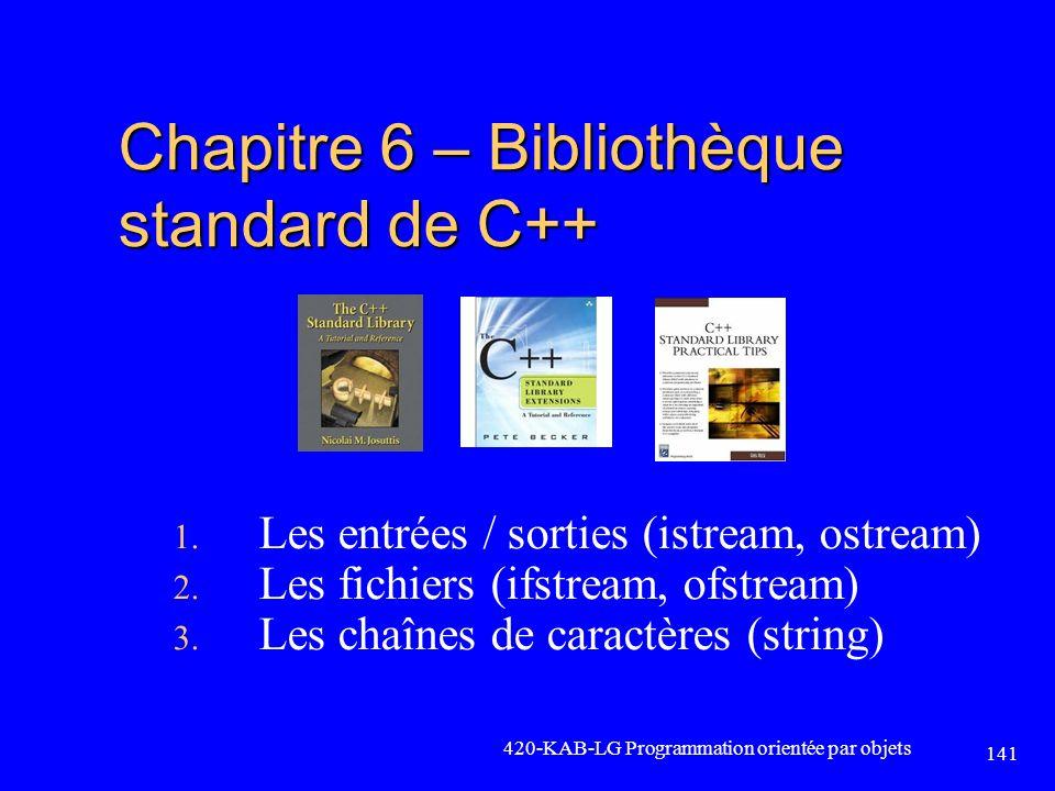 420-KAB-LG Programmation orientée par objets 141 Chapitre 6 – Bibliothèque standard de C++ 1. Les entrées / sorties (istream, ostream) 2. Les fichiers