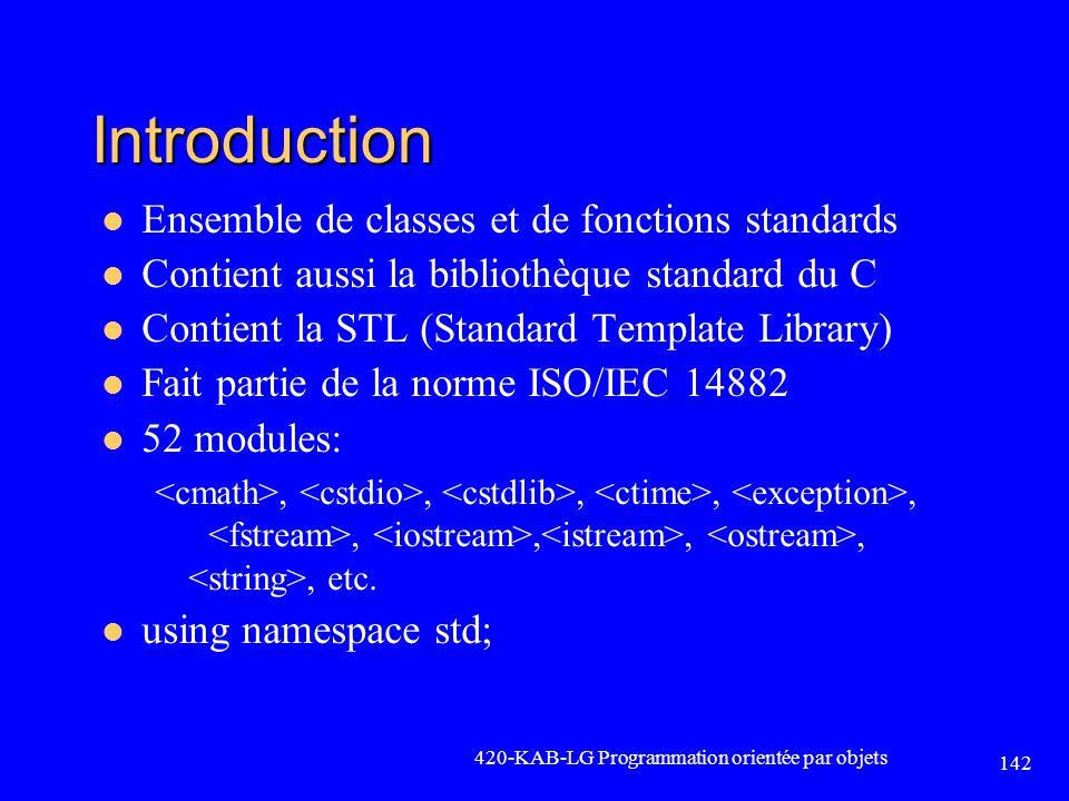 Introduction Ensemble de classes et de fonctions standards Contient aussi la bibliothèque standard du C Contient la STL (Standard Template Library) Fa