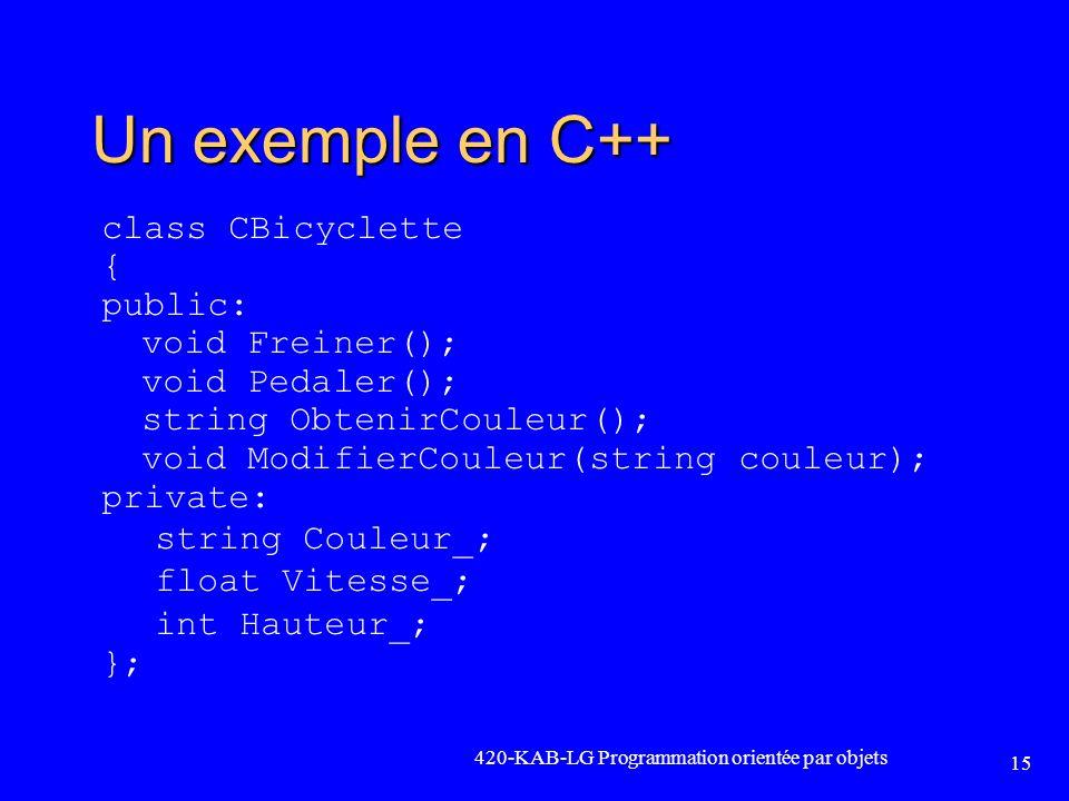 420-KAB-LG Programmation orientée par objets 15 Un exemple en C++ class CBicyclette { public: void Freiner(); void Pedaler(); string ObtenirCouleur();