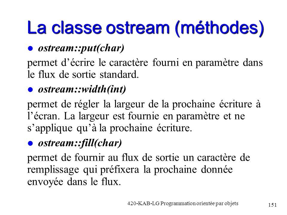La classe ostream (méthodes) ostream::put(char) permet décrire le caractère fourni en paramètre dans le flux de sortie standard. ostream::width(int) p