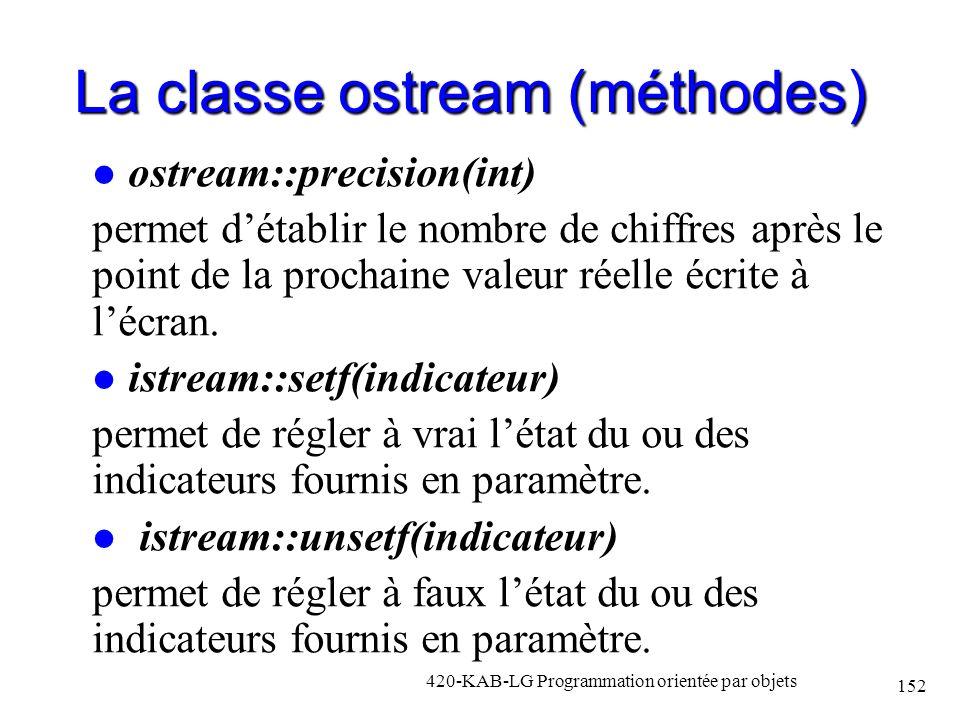 La classe ostream (méthodes) ostream::precision(int) permet détablir le nombre de chiffres après le point de la prochaine valeur réelle écrite à lécra