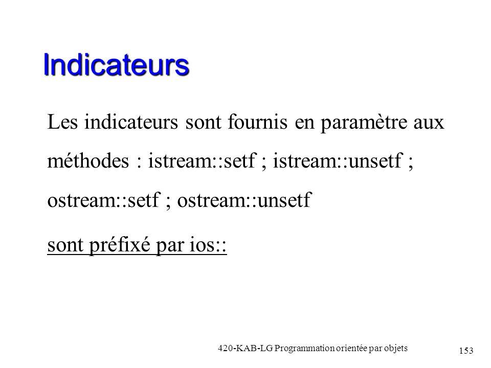 Indicateurs Les indicateurs sont fournis en paramètre aux méthodes : istream::setf ; istream::unsetf ; ostream::setf ; ostream::unsetf sont préfixé pa