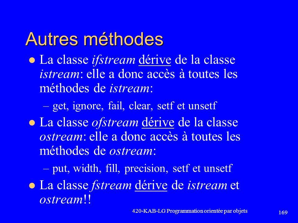 Autres méthodes La classe ifstream dérive de la classe istream: elle a donc accès à toutes les méthodes de istream: –get, ignore, fail, clear, setf et