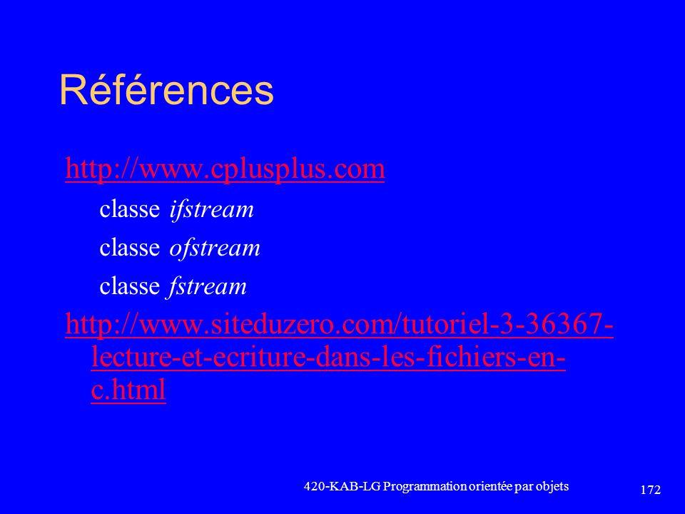 Références http://www.cplusplus.com classe ifstream classe ofstream classe fstream http://www.siteduzero.com/tutoriel-3-36367- lecture-et-ecriture-dan