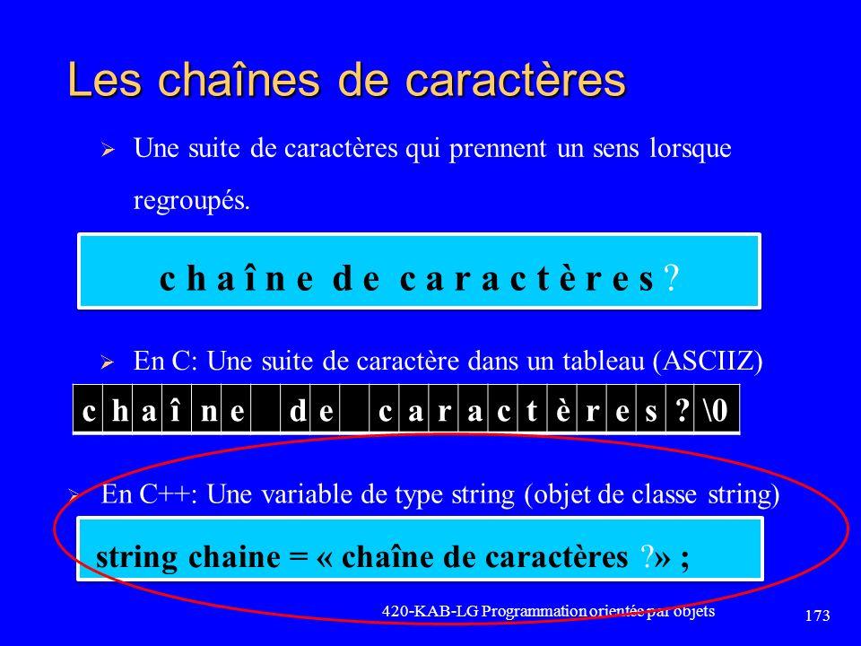 Les chaînes de caractères En C: Une suite de caractère dans un tableau (ASCIIZ) 420-KAB-LG Programmation orientée par objets 173 c h a î n e d e c a r